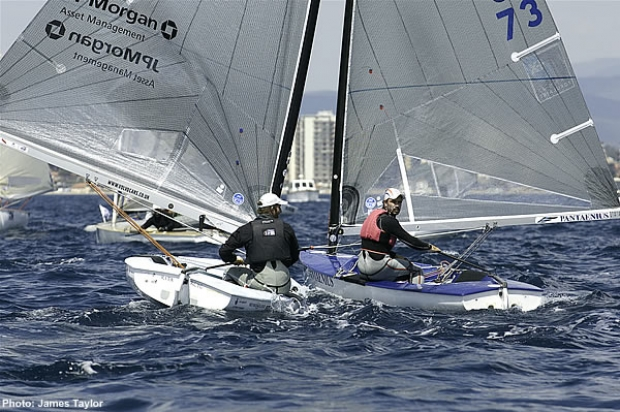 Ainslie hunts down Florent during the Medal Race pre-start
