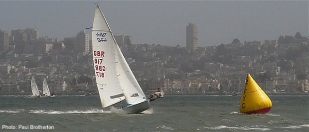 Nick Rogers and Joe Glanfield lead from the left in race 4   of the 470 Worlds in San Francisco.