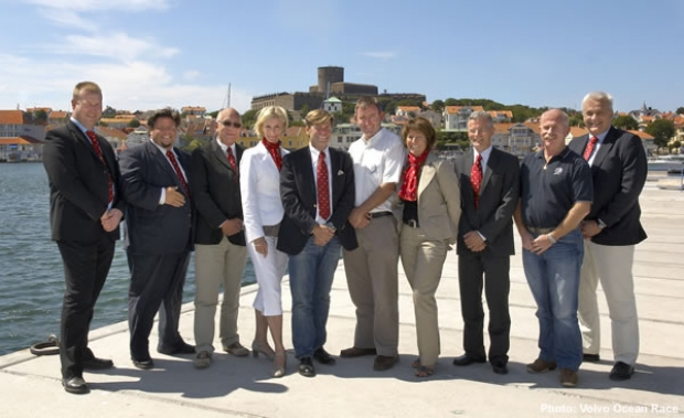 (Left to right) Anders Holmeskold, Chairman of the Executive Committee of the Kungalv Council, Miguel Odhner, Vice Chairman of the Kungalv Council, Anders Lofgren, Volvo Ocean Race, Elisabeth Mattsson, Chairman of the Kungalv Council, Claes-Goran Nilsson, Pit Stop Manager, Jeremy Troughton, Volvo Ocean Race, Lillan Blixter, Team Marstrand, Michael Stensjo, Team Marstrand..Jack Lloyd, Volvo Ocean Race and Bengt Nejdebring, Team Marstrand.