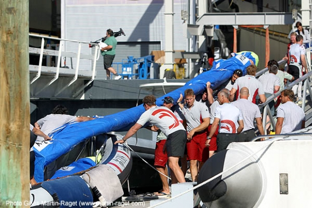 Alinghi's crew load on the sails