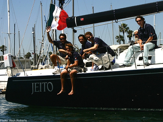 Among the record nine foreign boats sailing in Transpac 2003 is the J/145 Jeito of Mexico's Francisco Guzman (waving at left). Some of the other crew members are (from left) Francisco Guzman Jr., the skipper's son; Rafael Ambrosi, Enrique Giraud, Jon Shampain of San Diego and Franco Ambrosi. They'll start in Division 3 Friday.