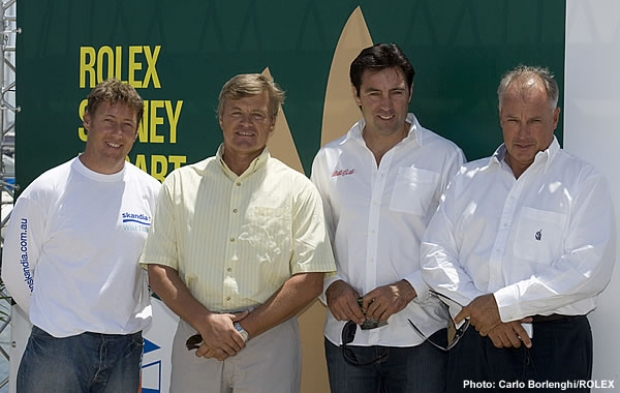 Ludde Ingvall (second from left), announced his return to the Rolex Sydney Hobart at the CYCA today. He is flanked by skippers entered in tomorrow's Big Boat Challenge on Sydney Harbour including Nick Maloney (left), representing Grant Wharington and Skandia, Mark Richards (Wild Oats XI) and Iain Murray (Wild Oats X) on the right.