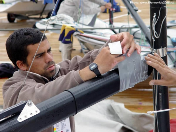 A GPS unit being fitted to a 49er at the World Championship in Moscow