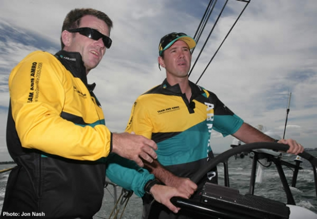 ABN AMRO One skipper Mike Sanderson with Ricky Ponting