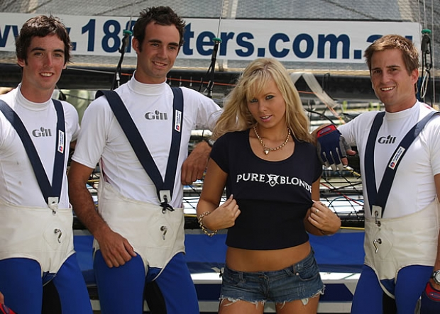 Seve Jarvin and his 'Gotta Love It 7' team may have won the NSW Championship but the rookie crew of the Fosters-sponsored 18ft skiff 'Pure Blonde' were also winners when young Australian model Nicky Cameron showed up to lend them moral support before yesterday's final race of the regatta.