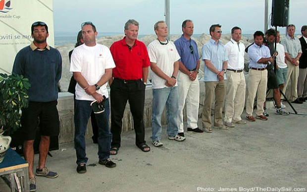 From left to right: Frane Brate, Allan Coutts, Chris Law, James Spithill, Magnus Holmberg, Mattias Rahm, Johnie Berntsson, Paolo Cian, Jes Gram Hansen, Jesper Radich and Karol Jablonski
