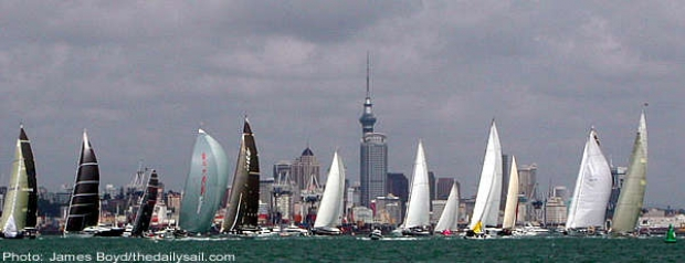 The racing fleet set sail in front of the Auckland skyline