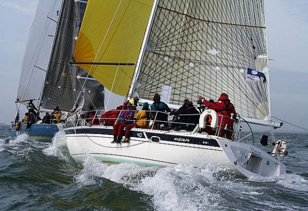 Deuce, owned by Mr and Mrs M Gee of Lymington, chasing Shockwave, owned by Nick Lutte, in the IRC Division 2 class of the Raymarine Warsash Spring Series on April 13th. Shockwave held on to take fifth place ahead of Deuce in sixth.
