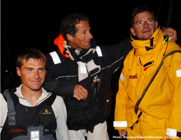 Top three finishers on leg 4 - from left to right Fred Duthil, Michel Desjoyeaux and Gerard Veniard