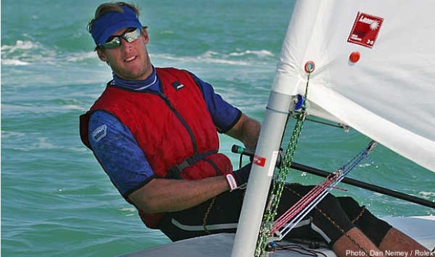 Mark Mendelblatt (USA) wins the Laser class from defending champion Paul Goodison (GBR)