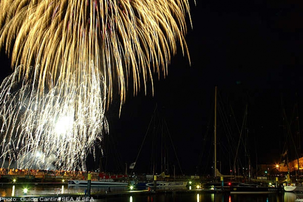 The UK National Fireworks competition taking place behind Plymouth Queen Anne's Battery Marine last night