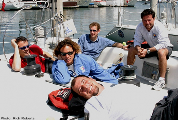 Italy's Paolo Cian (right) and crew makes themselves at home on one of the Catalina 37s to be sailed in the Congressional Cup. Crew members are (foreground) Francesco De Vita and (from left) Pierluigi Fornelli, Davide Scarpa and Peter van Niekirk.