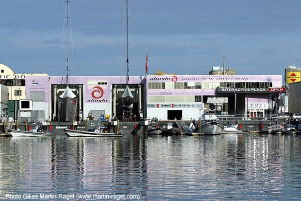 All quiet at the pink Alinghi base first thing this morning