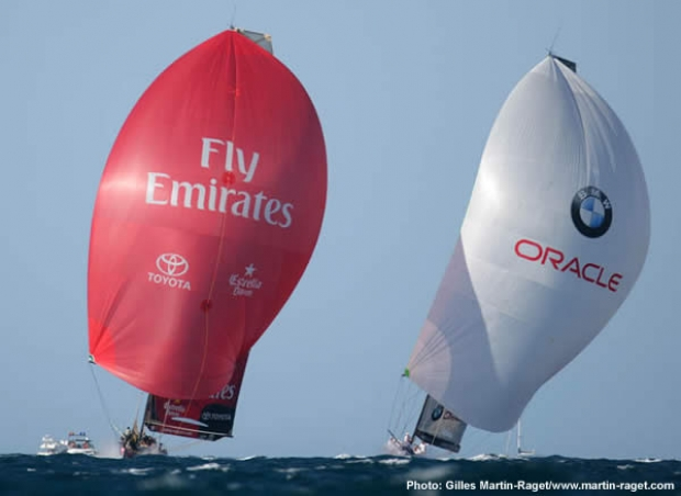 BMW Oracle and Emirates Team New Zealand - three seconds apart...