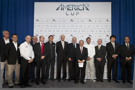 Thierry Barot and Wang Chaoyong of China Team, Kevin Shoebridge (Emirates Team NZ), Bruno Trouble, Dario Valenza of Venezia Challenge, Philippe Ligot of ALEPH – Équipe De France, Richard Worth of ACEA, Ian Murray of ACRM, San Francisco Mayor Edwin M. Lee, Russell Coutts of Oracle Racing, Terry Hutchinson of Artemis Racing, Kim Dong-Young of Korea Racing and Bruno Peyron of Energy Challenge