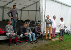 Groupama support crew including designer Martin Fischer and team mager Stéphane Guilbaud (and Peter Heppel lurking)