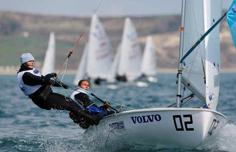 Hannah Mitchell and Joanna Freeman - RYA Volvo Youth National Championships. Photo Paul Wyeth/RYA
