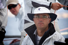 Nacho Postigo (concentrating) - Hublot Palmavela. Photo Jesus Renedo/www.sailingstock.com