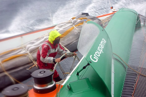 Groupama 3 - Cammas gets a dunking. Photo ©; Groupama