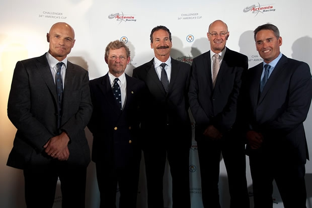 From left to right: Torbjorn Tornqvist, KSSS Commodore Jacob Wallenberg, Paul Cayard, Richard Worth, Russell Coutts