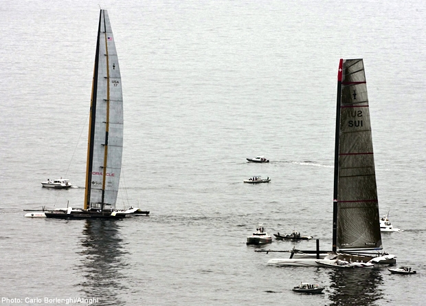 Alinghi 5 and BMW Oracle Racing's USA await the wind