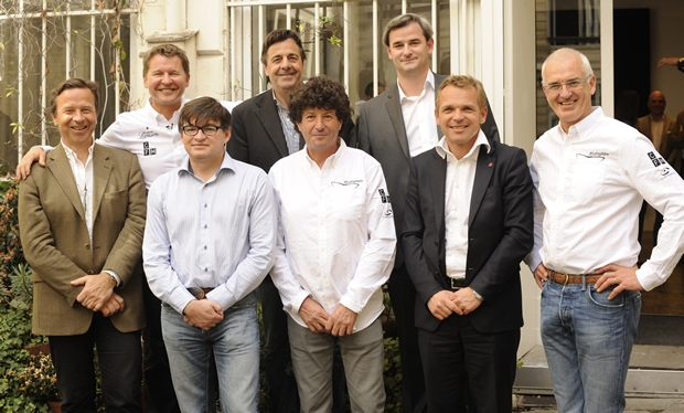 From left to right Arnaud Martin (Clip Industrie) Alain Thébault, Jean Philippe Bouchaud (Capital Fund Management) Michel Van Den Berghe (Athéos) Jean Le Cam, Fabien Pierlot (Coyote System), Jérôme Durand (Lanson) and Yves Parlier