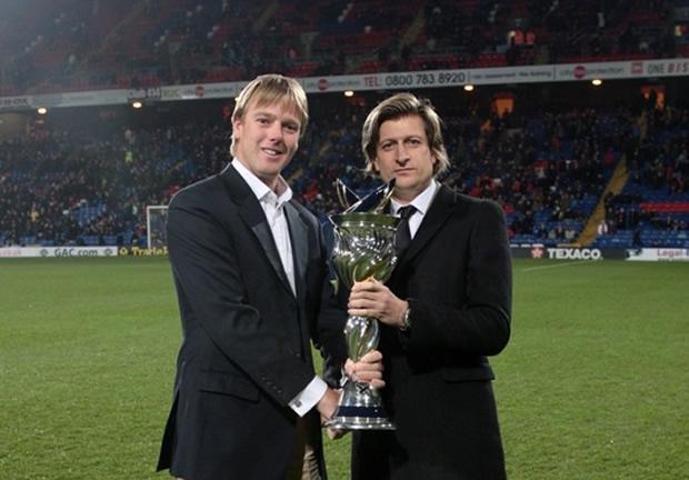 Ian Williams with Crystal Palace chairman Steve Parish