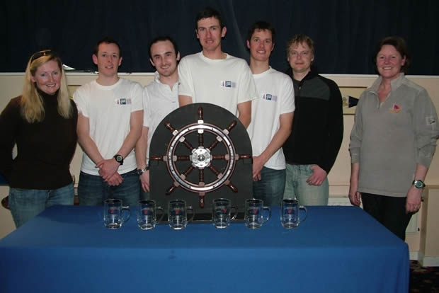 left to right: Debs Steele, Hamish Walker, Ben Field, Andy Cornah, Dom Johnson, Tom Foster and West Kirby SC Commodore Kay Johnson