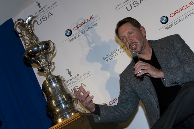 Larry Ellison and his new trophy at the GGYC
