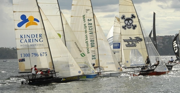 Action on day one of the 18ft skiffs' JJ Giltinan Championship