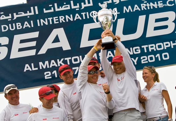 Torbjorn Tornqvist celebrates with his Artemis team