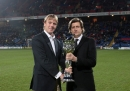 Ian Williams with Crystal Palace chairman Steve Parish