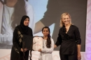 Shirley Robertson, with young omani sailor Sulaff Al Salmi and her head mistress Mrs Suana