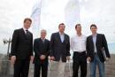 Knut Frostad, CEO Volvo Ocean Race, Jandir Bellini, Mayor of Itajai, sailors Lars Grael, Torben Grael, Congressman Paulo Bornhausen